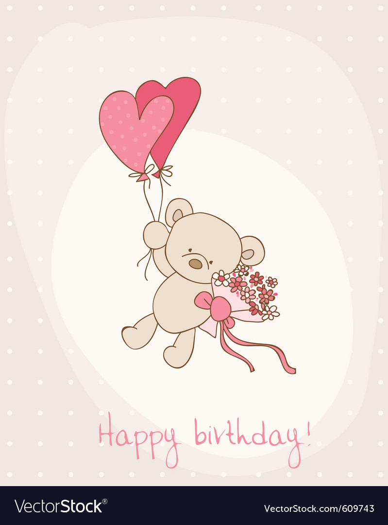 Greeting birthday card with cute bear vector 609743 by
