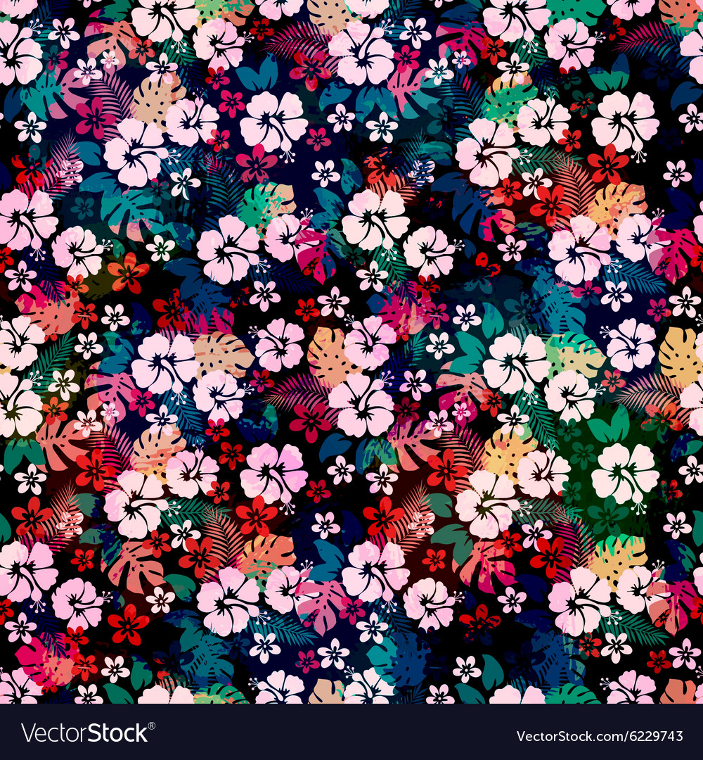 Hawaiian tropical floral seamless pattern