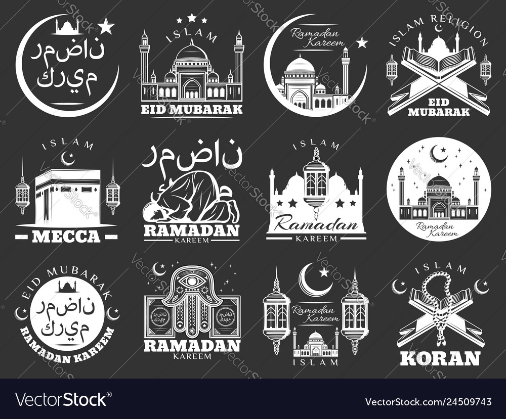 Islam ramadan and mubarak religious holidays icons