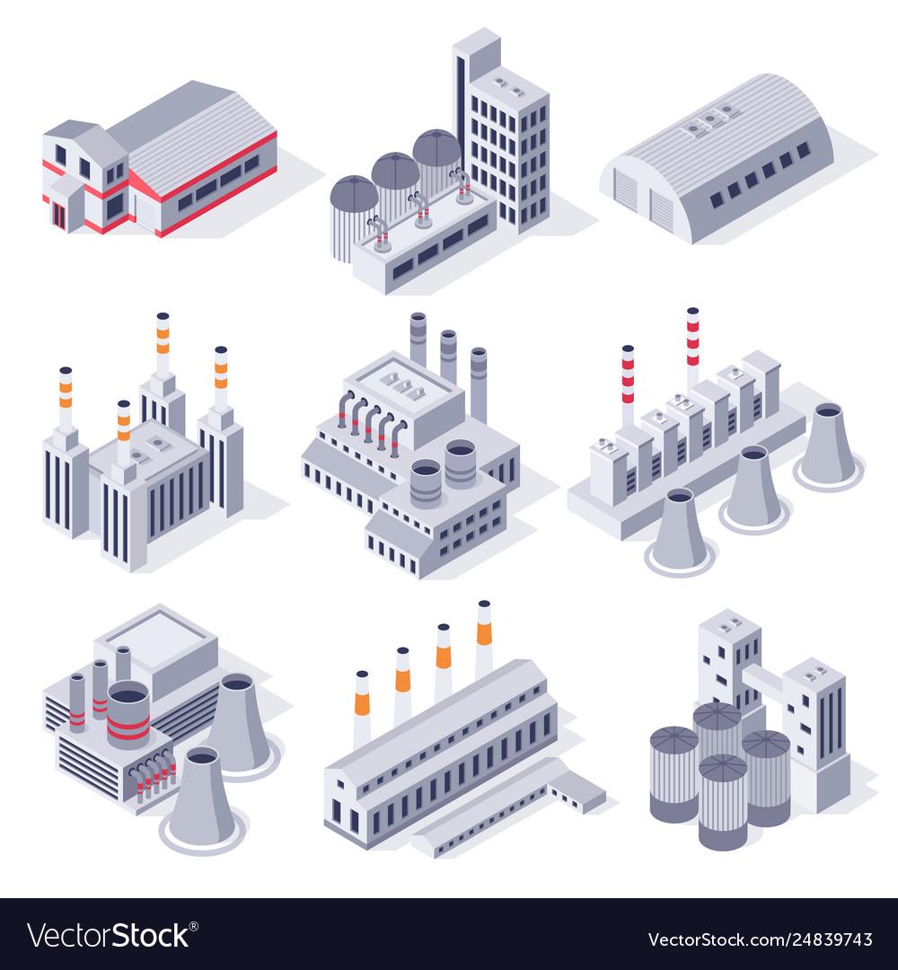 Isometric factory buildings industrial power