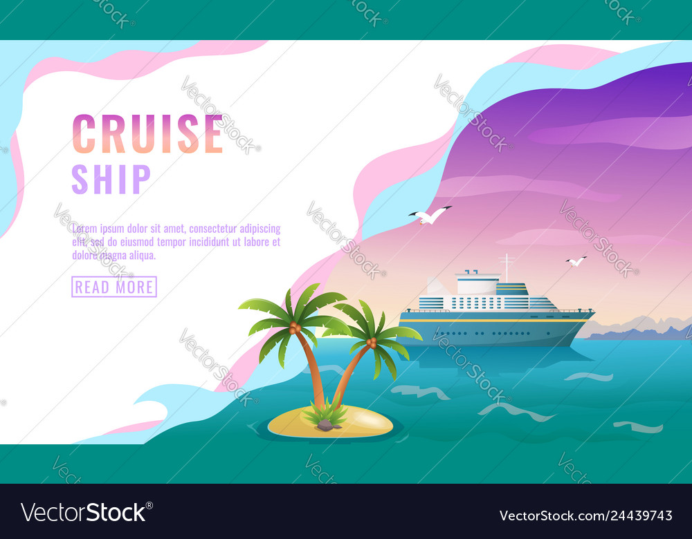 Landing page design banner with liner cruise