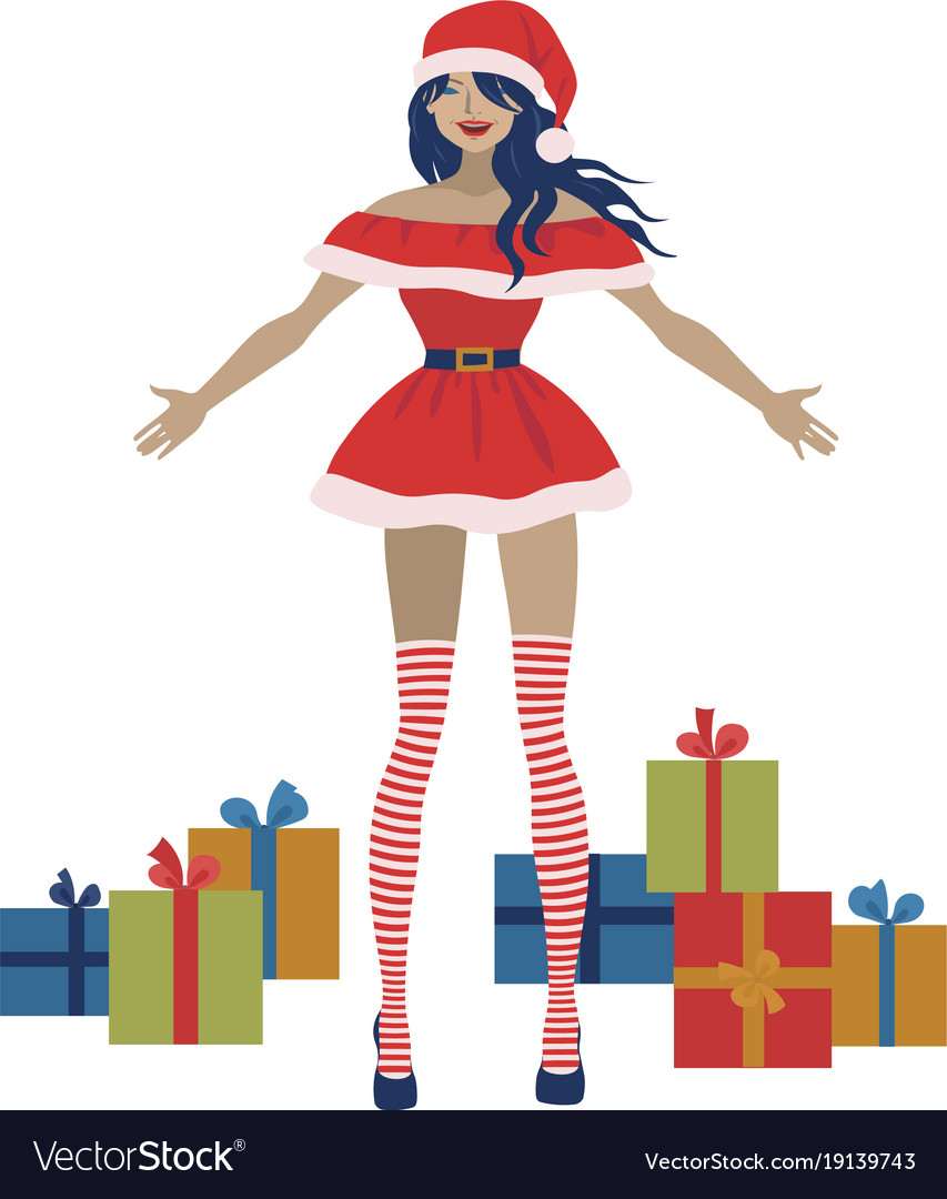 Santa claus woman with gift boxes