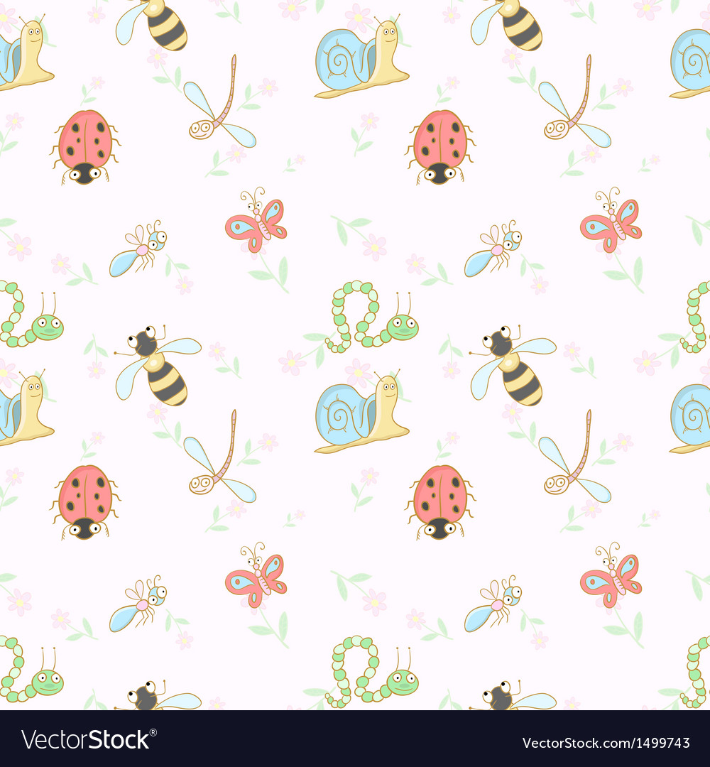 Seamless background with cartoon insects