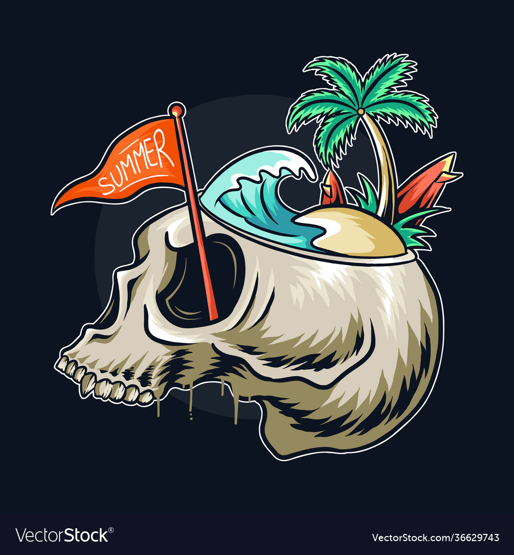 Summer theme skull head with concept on its
