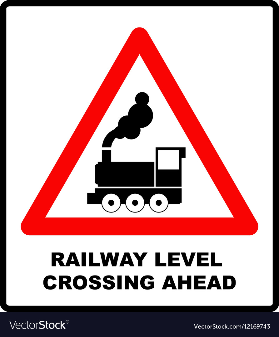 Traffic sign level crossing with barries ahead