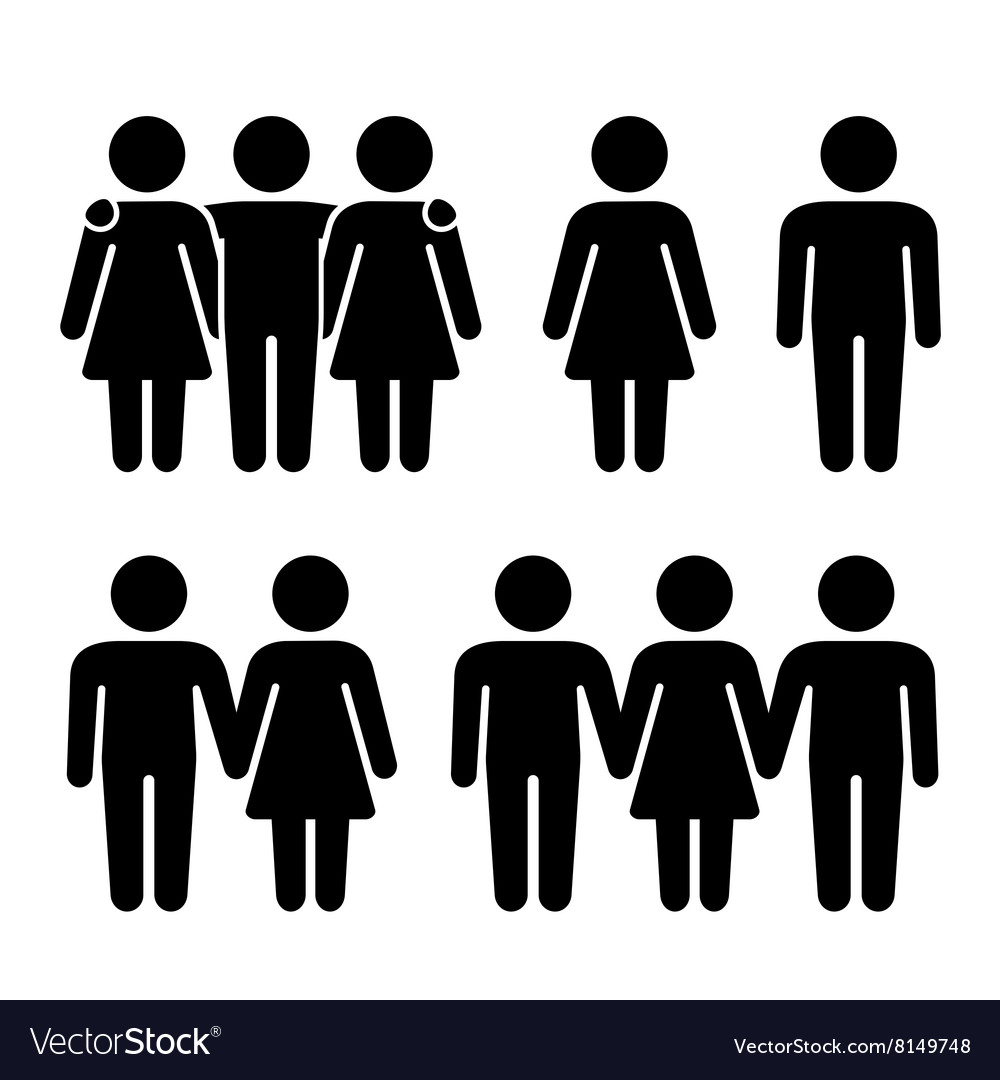 Alone Couple and Threesome Human Icons Set vector image