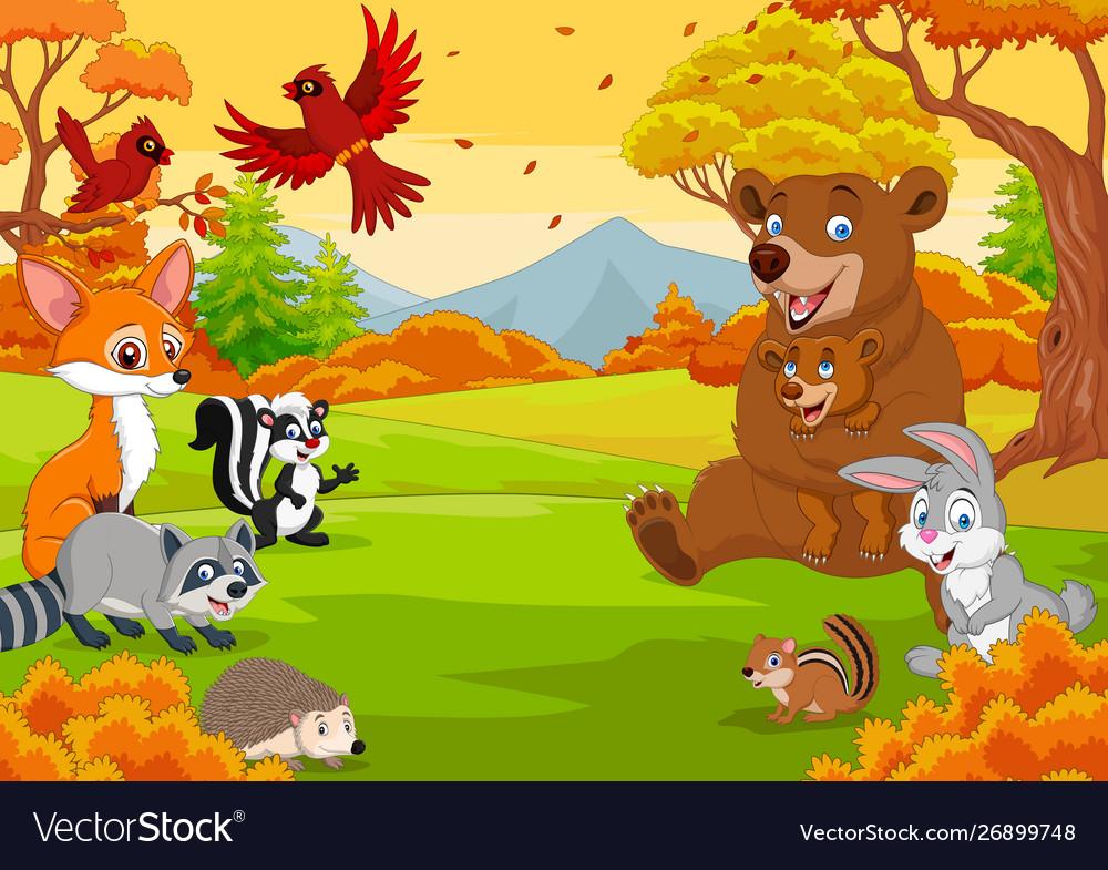 Cartoon wild animals in autumn forest