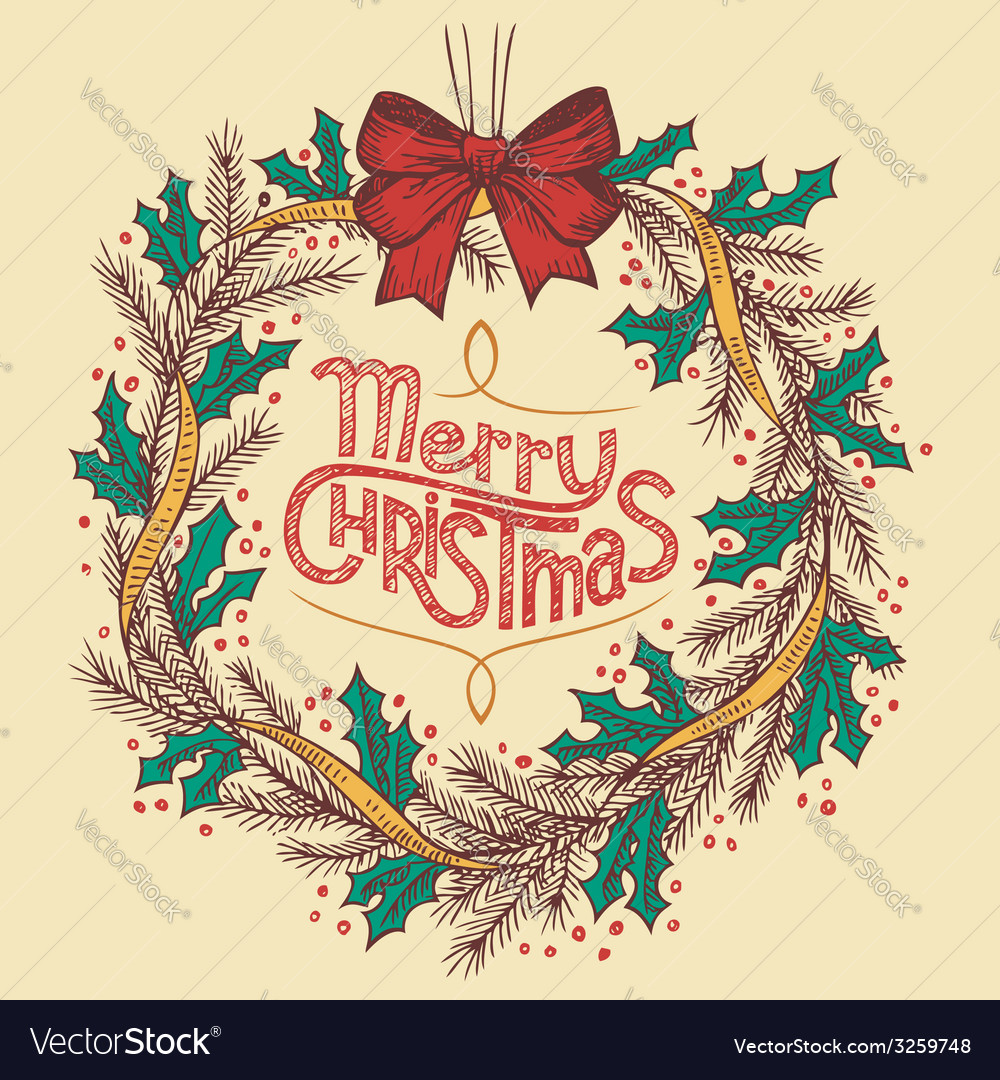Christmas Wreath Line Drawing Royalty Free Vector Image