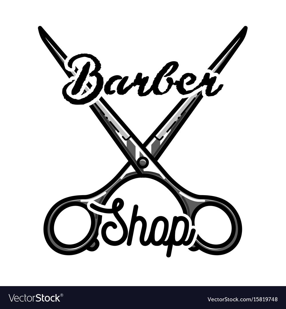 Color vintage barber shop emblem
