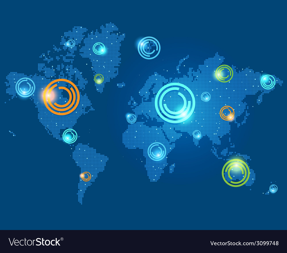 Colored places points on the world map vector image