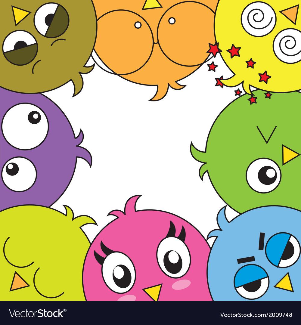 Funny birds card vector image