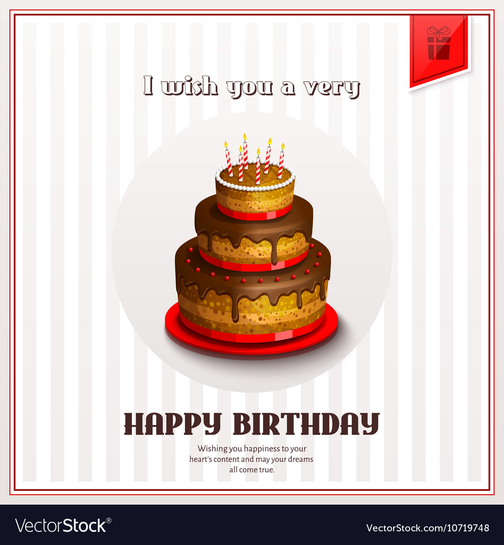 Happy Birthday Greeting Card With Birthday Cake Vector Image