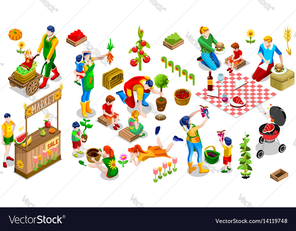 Isometric people family tree plant icon set vector image