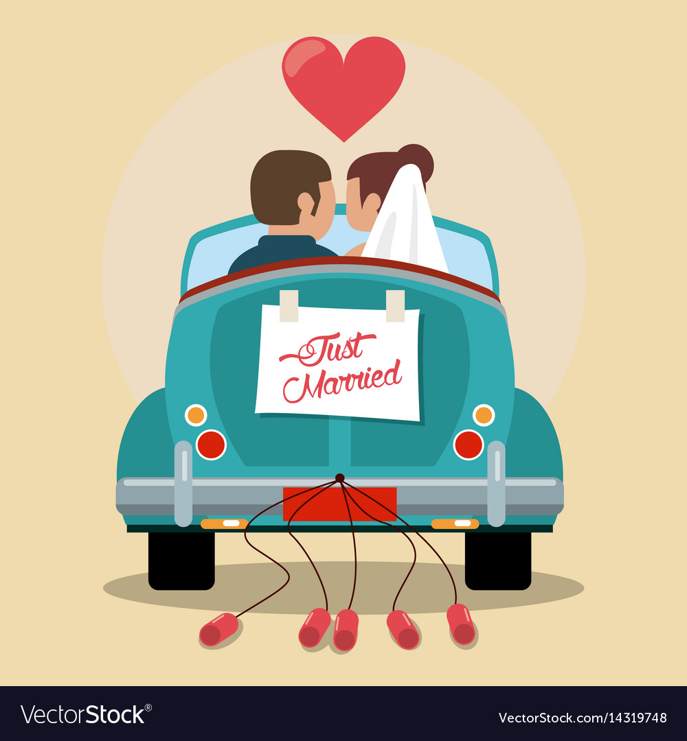 just married couple in love car royalty free vector image