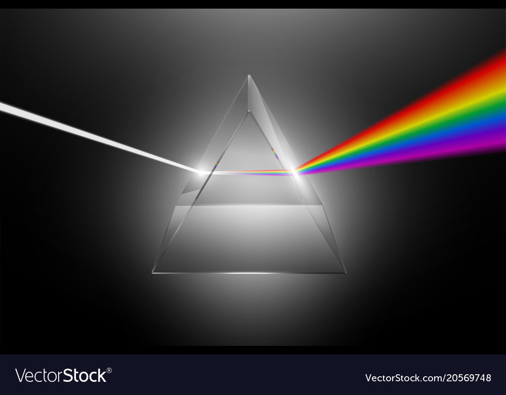 Light dispersion to a spectrum on a glass prism
