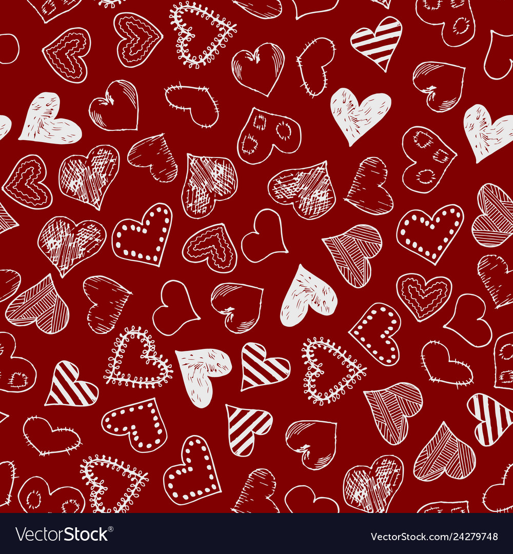 Romantic seamless pattern with hand drawn doodle