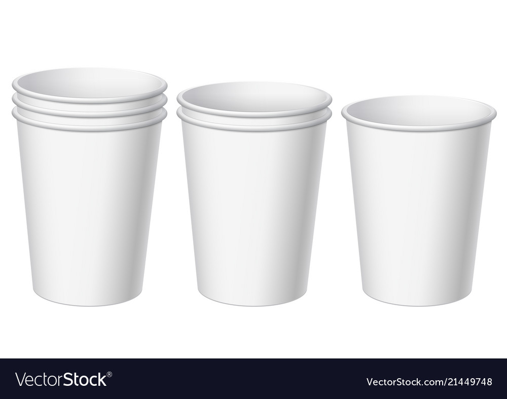 Set of realistic white disposable paper cups