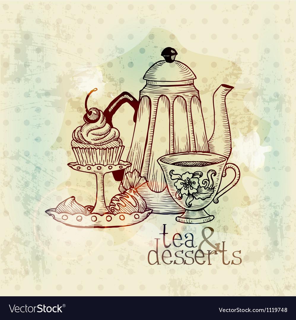 Tea and Desserts - Vintage Menu Card