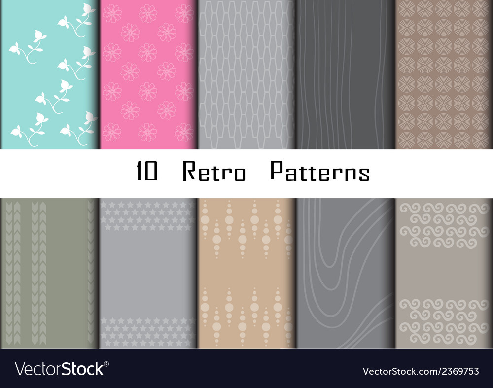 10 Retro different seamless patterns