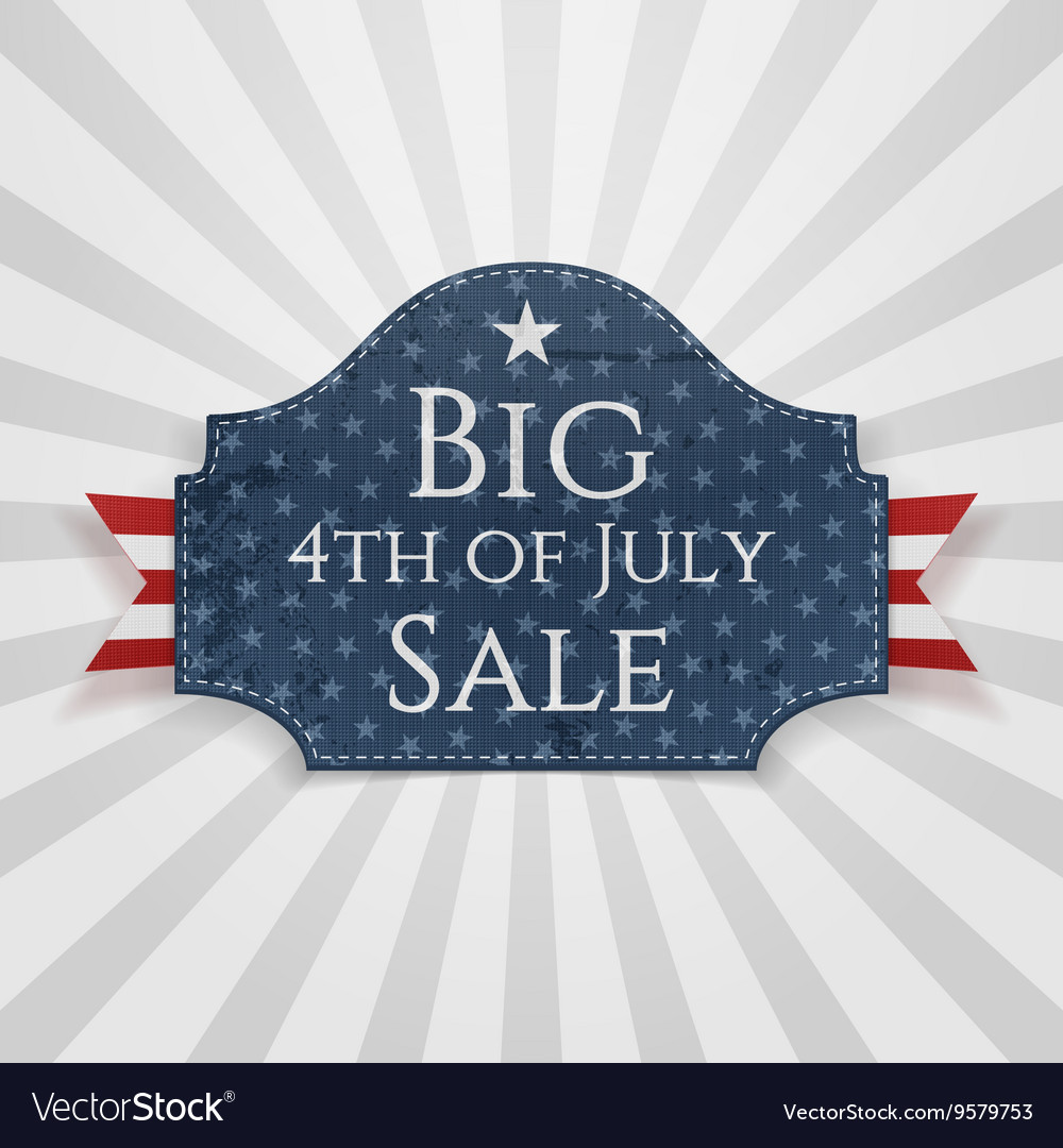 Big 4th of July Sale Badge with Ribbon