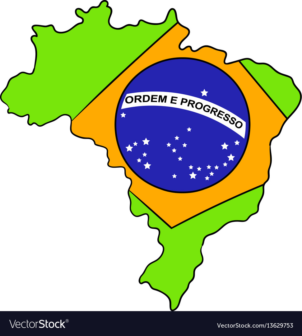 Brazil map and flag icon cartoon