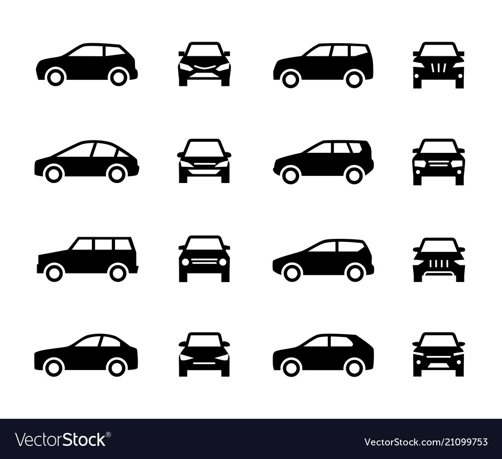 Cars front and side view signs vehicle black vector image