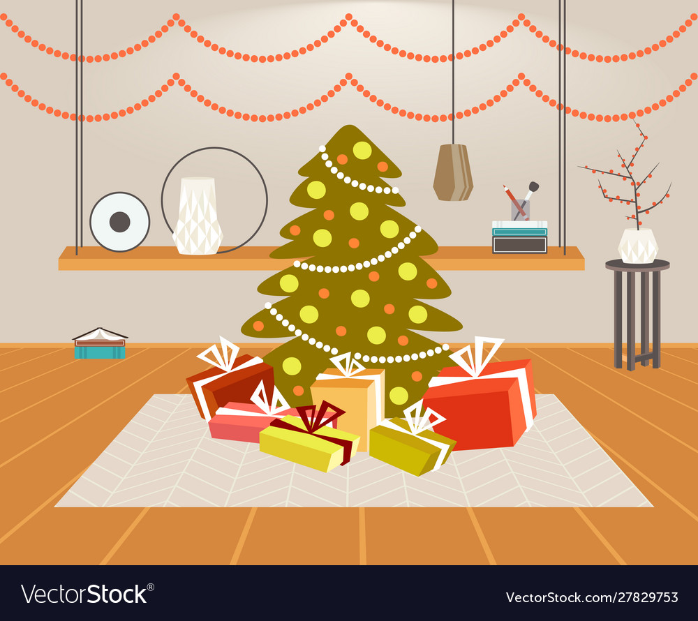 Christmas green fir tree with gift present boxes