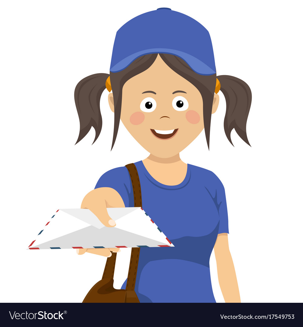 Delivery girl with envelope in blue uniform