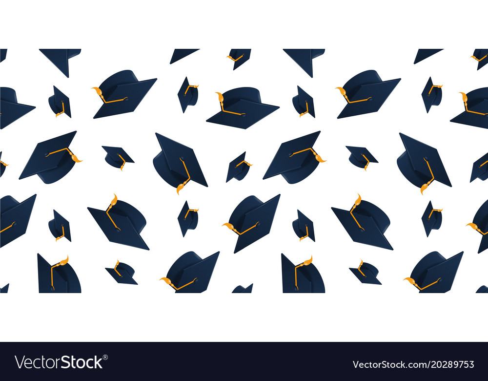 graduation cap seamless pattern royalty free vector image