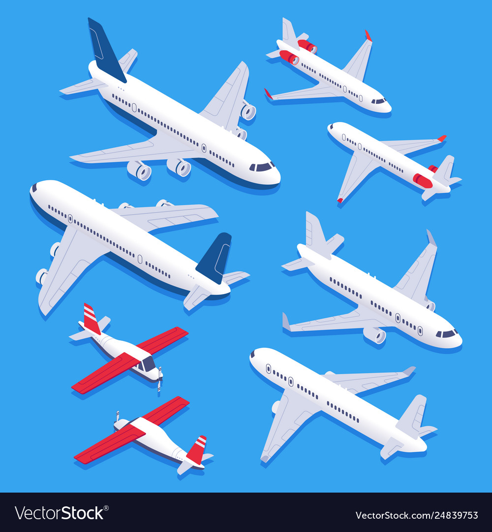 Isometric airplanes passenger jet airplane