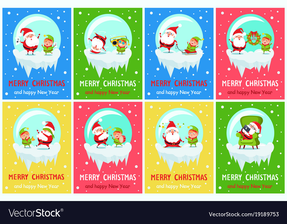 Merry christmas happy new year poster santa elf vector image