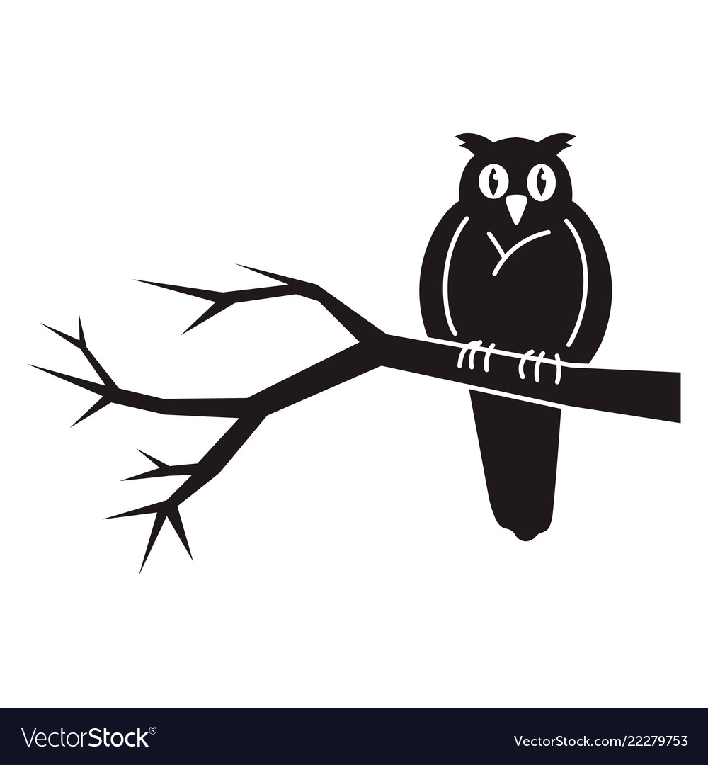 Owl on tree icon simple style