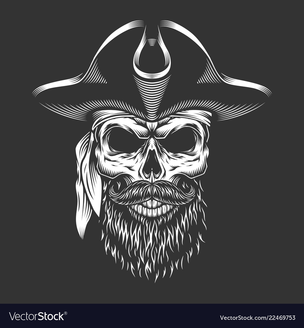 b851f2675a0 Pirate skull with beard and mustache Royalty Free Vector
