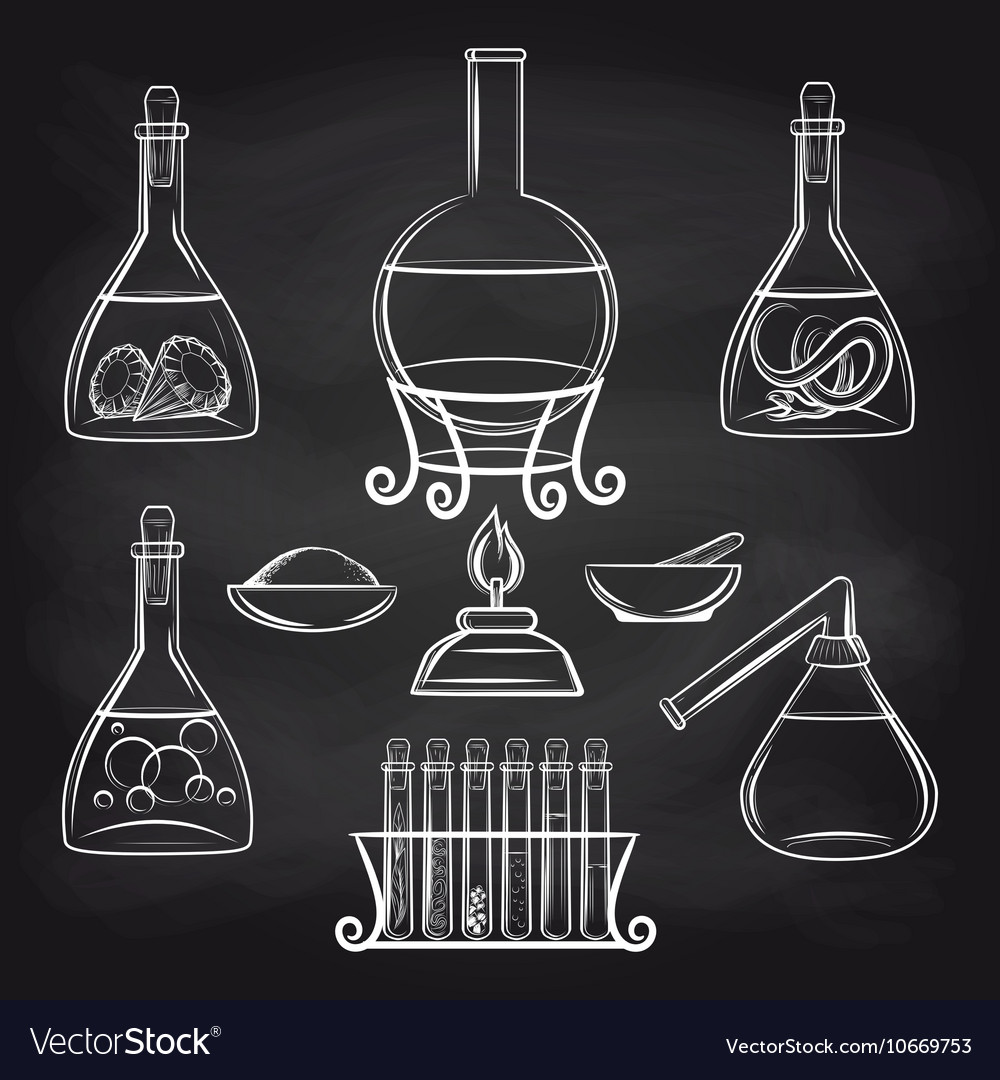 Science lab equipment set on chalkboard