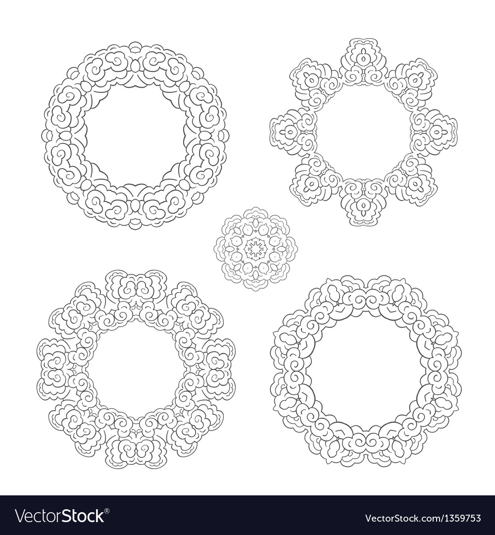 Set of round ornament frames Royalty Free Vector Image