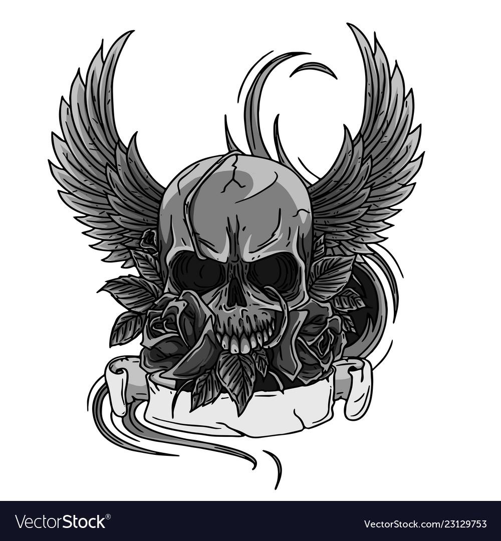 Skull symbol tattoo design crown laurel wreath