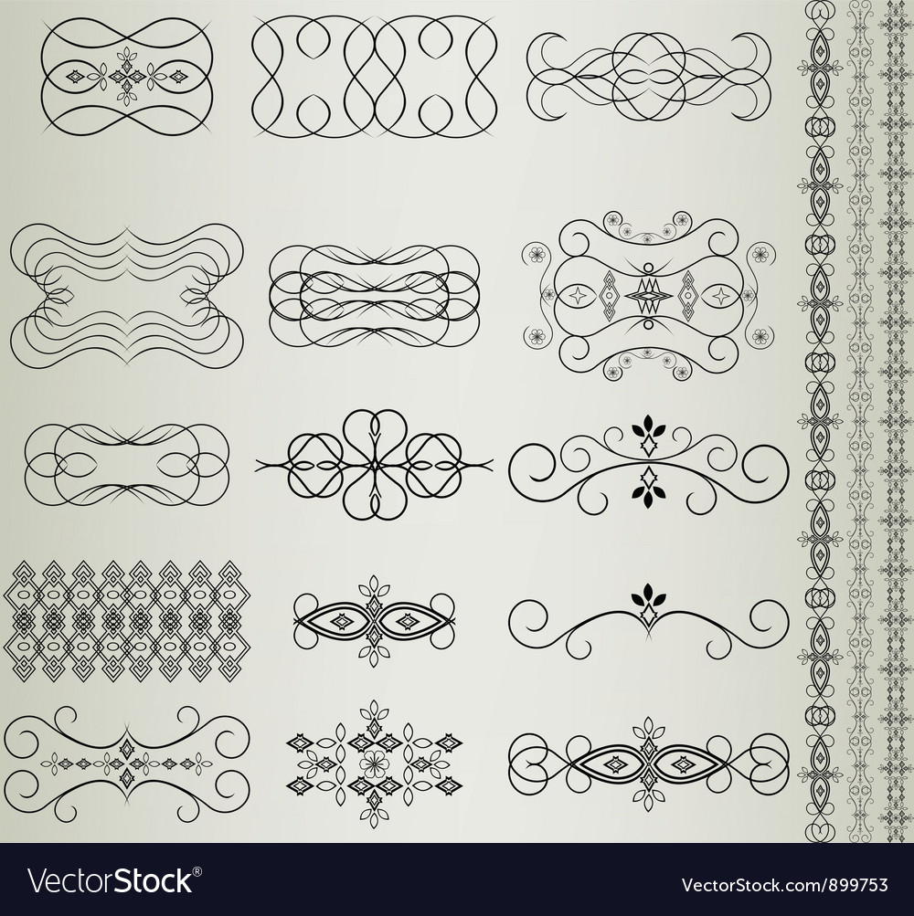 Vintage Floral Filigree Design Element vector image