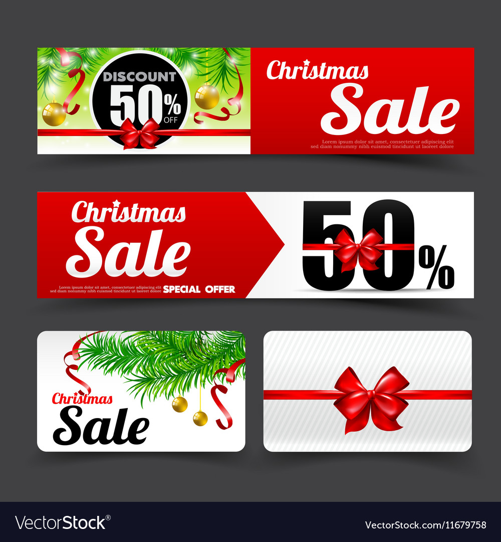 019 Collection of merry christmas sale tag banner
