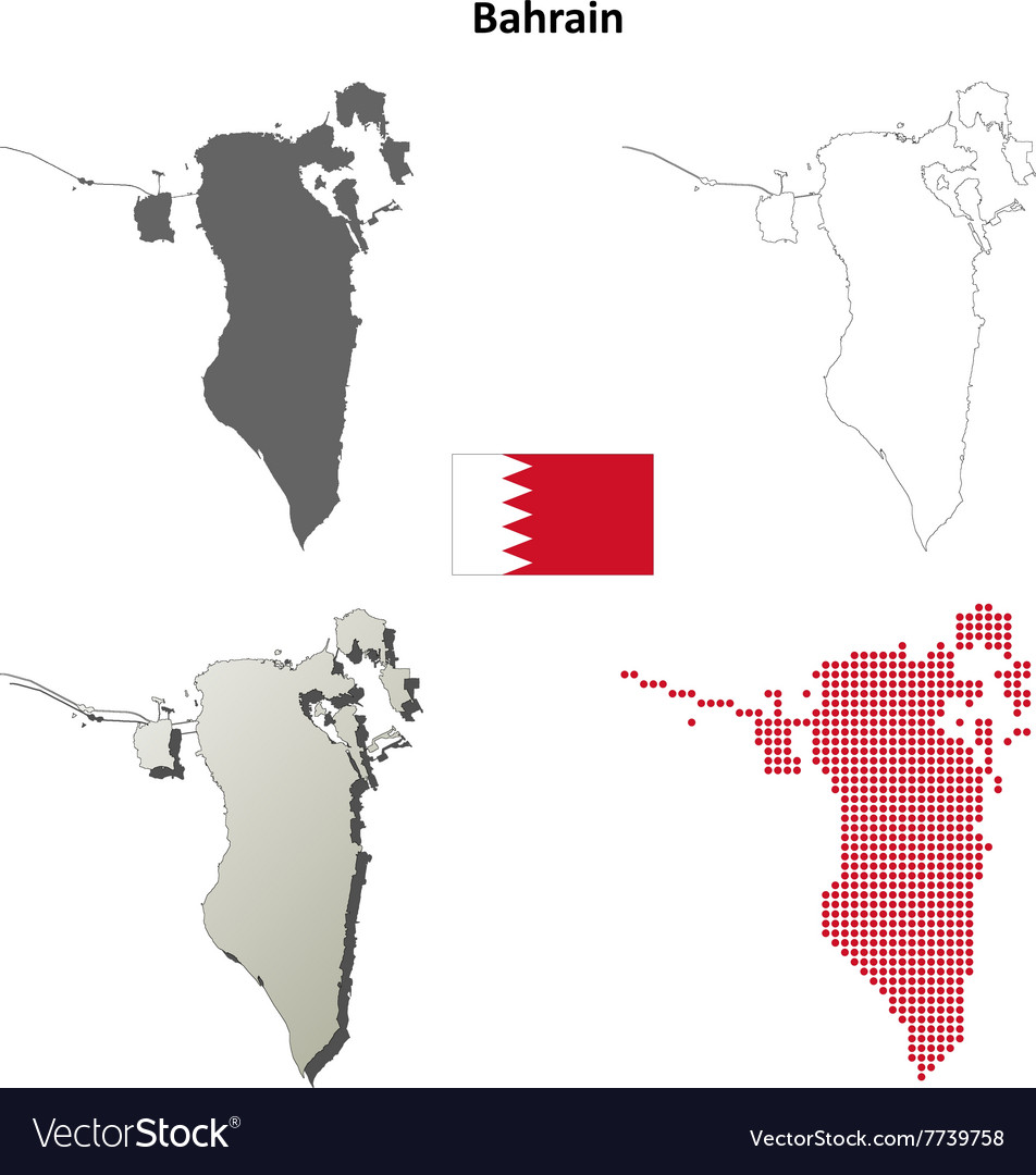 Bahrain outline map set