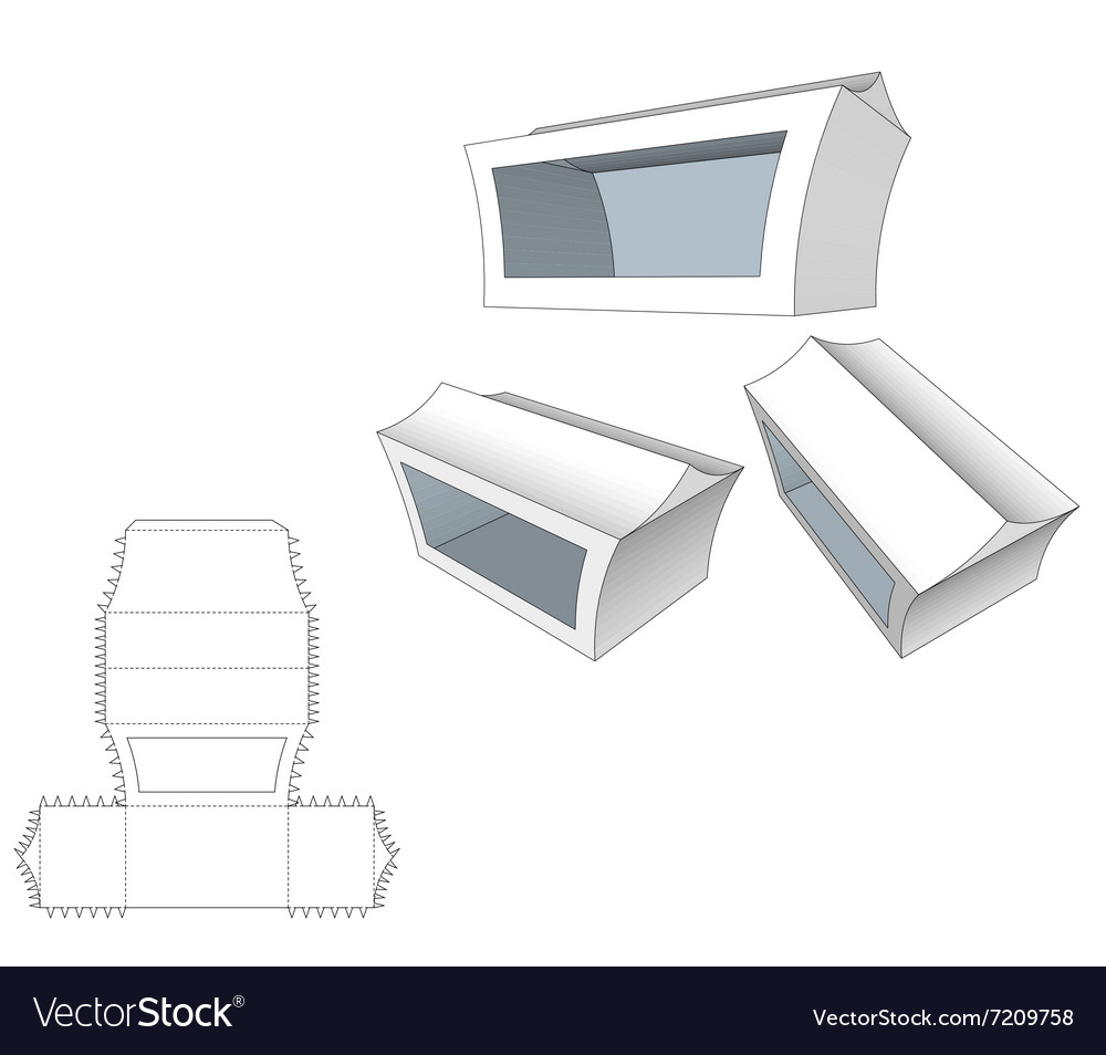 box with windows die cut template packing box for vector image