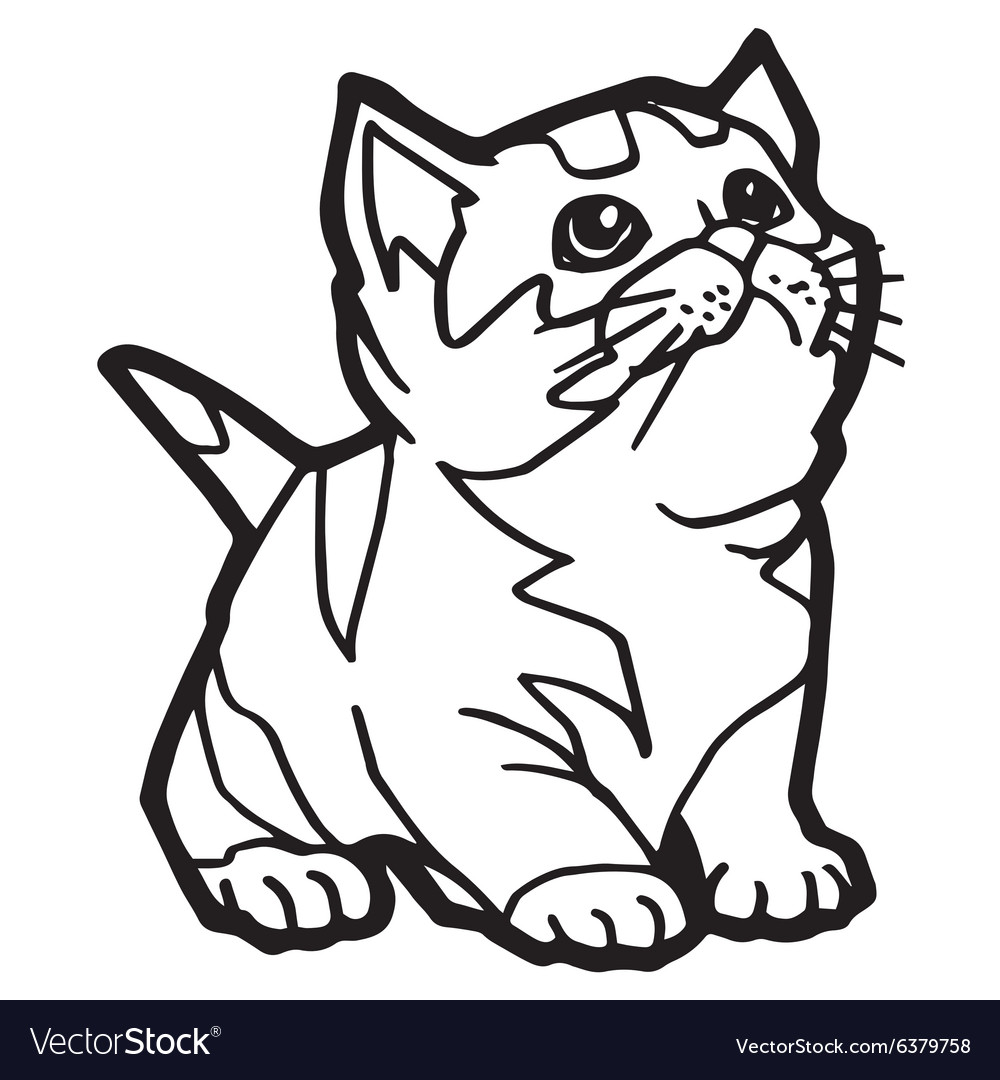 Cartoon Cat Coloring Page for kid Royalty Free Vector Image