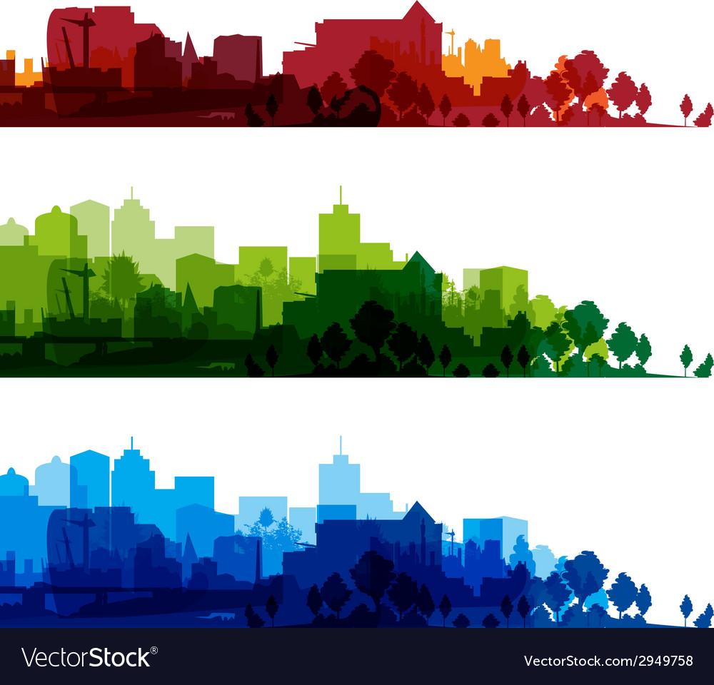 Cityscape overprinturban summer red home 3d s vector image
