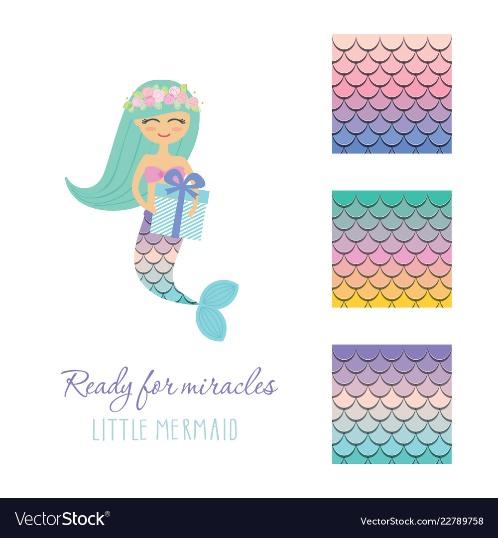 Cute mermaid with birthday present box and scale