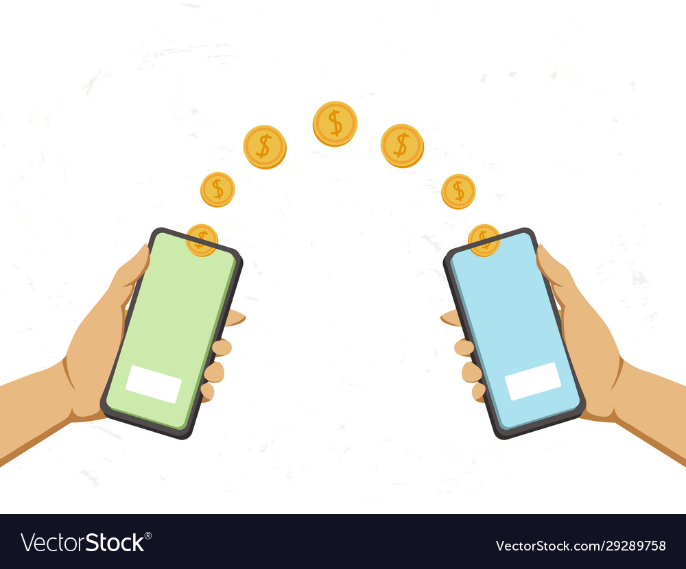 Hands holds a phone and falling money transferred