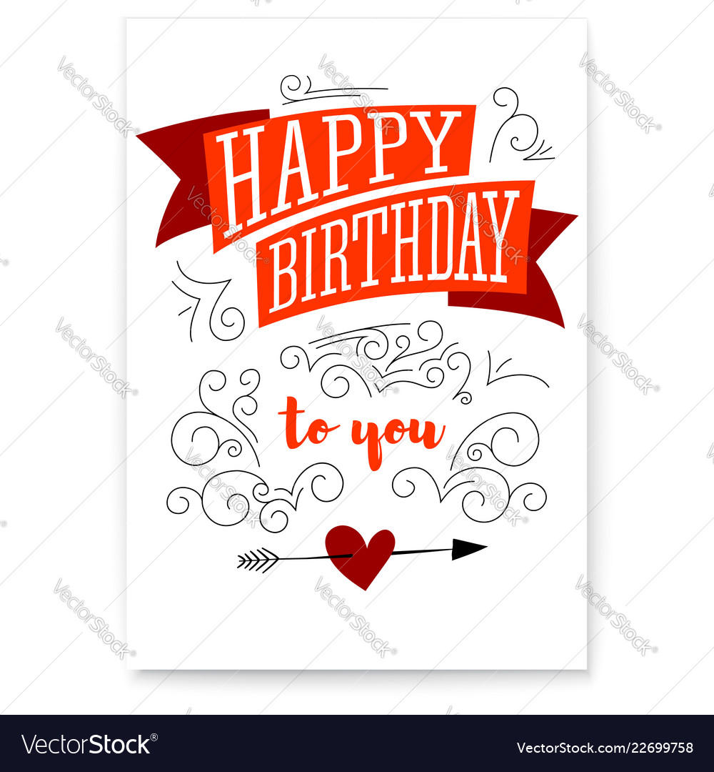 Happy birthday design of text lettering vintage