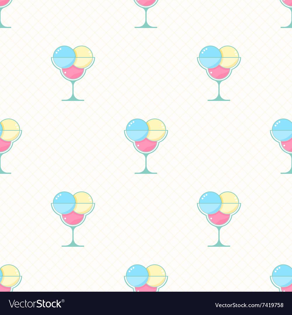 Ice cream seamless pattern in modern flat
