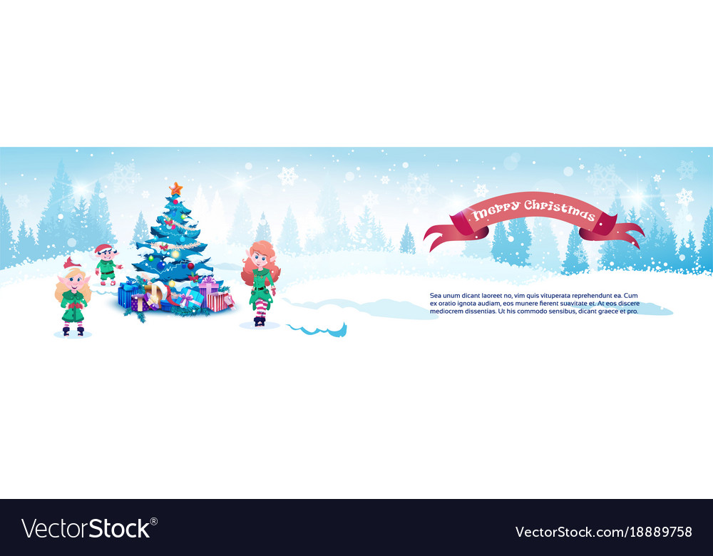 Merry christmas horizontal banner cute elfs neat