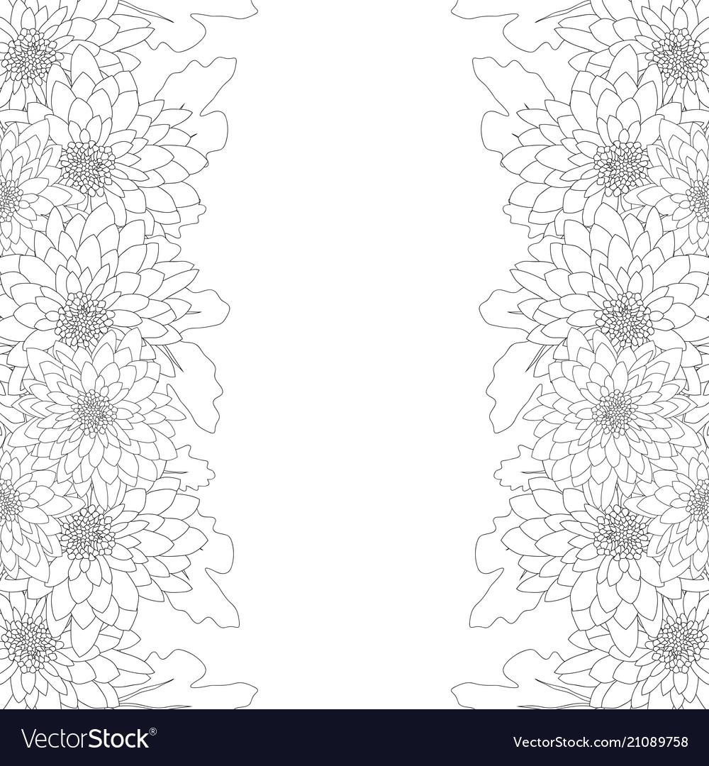 Mum chrysanthemum flower outline border