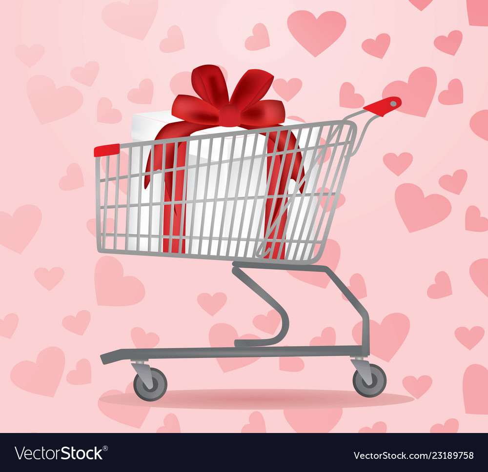 Shopping cart with present inside