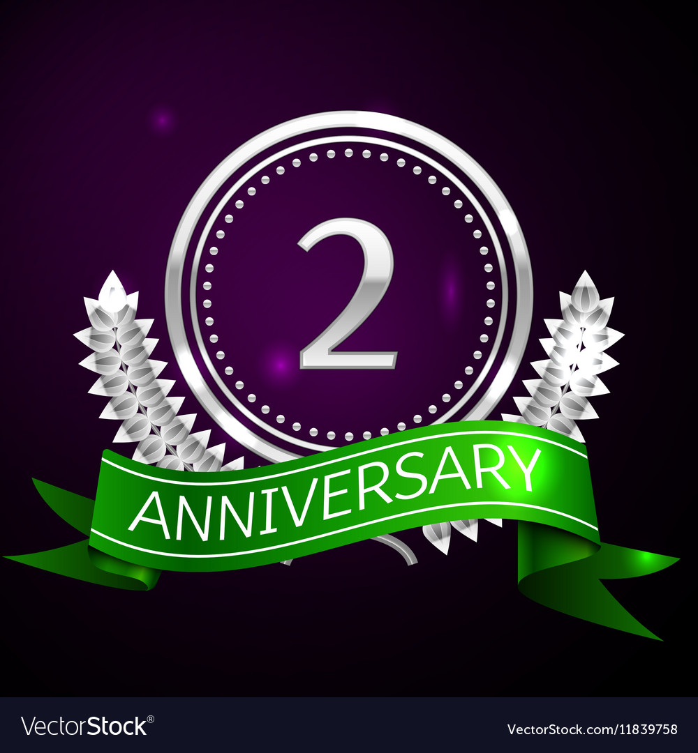 Two years anniversary celebration with silver ring vector image
